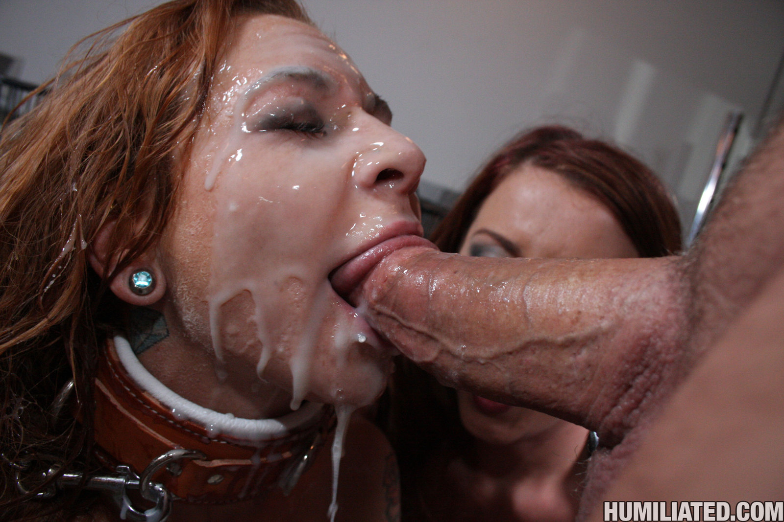 Messy cum and spit face